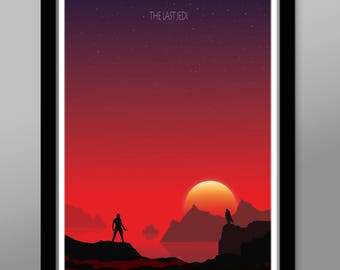 Force Inspired - The Last Jedi - Sunset Minimalist Poster Set - Sunset Collection - Print 237 - Home Decor