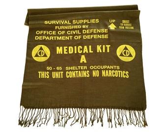 Civil Defense Medical Kit scarf. Cold War era survival supplies design, linen weave pashmina. Fallout shelter. Choose olive green & more.