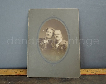 Antique Cabinet Photo, 2 Women Victorian Edwardian 8x6 inches 1800s early 1900s, Vintage Black & White