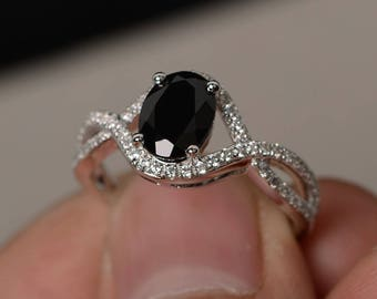 Natural Black Spinel Ring Oval Shaped Engagement Ring Black Gemstone Ring Silver