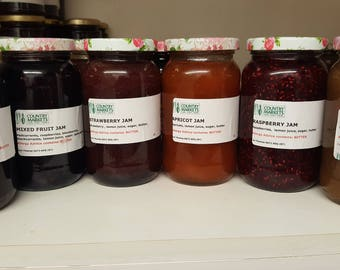 Home made Jam - Strawberry/Raspberry/Cherry/Apricot/Mixed Fruit/Rhubarb and Orange/Blueberry Conserve