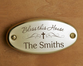 Engraved Bless This House Door Plate