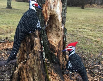 Felt Pileated Woodpecker, Felt Woodpecker, Woodpecker Sculpture, Fiber Art Bird, Gift for Bird Lover