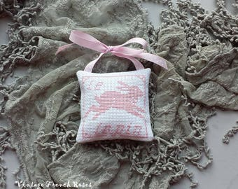 Lavender Sachet Pink Rabbit Cross Stitch Hand Made Ornament Bunny Easter Decor Nursery Baby Gift Spring Rustic Primitive Decor