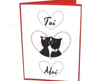 Dual red and white Valentine's day, couple of cats and hearts you and me