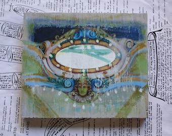 Carousel, Lime, Original, Mixed Media, Miniature, 5 x 6, Wood, Wood Grain