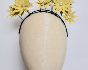 Yellow leather daisy flower fascinator headpiece headband