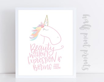 Beauty Without Expression is Boring - Ralph Waldo Emerson Hand Lettered Quote, Children's Art print, Unicorn Watercolor Artwork, Girl's Gift