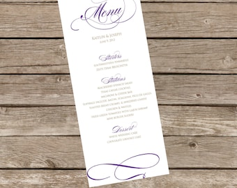 DIY Printable Classically Modern WEDDING MENU - Lovely Little Party - You Choose Color