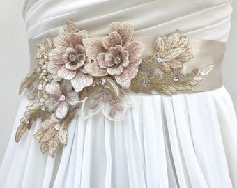 Floral Lace Bridal Sash,Wedding Sash In Pale Champagne And Blush With Swarovski Crystals, Wedding Dress Sash, Flower Sash