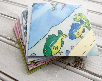 10 Handmade Square Envelopes, Notecards, Stationary, Teacher Gift, Kids, School Themed, Recycled, Upcycled Paper