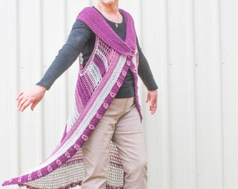 Crochet Duster Vest for Women – Country Market Collection – Long Crochet Vest - Orchid Stitch