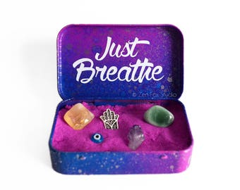 Mini Zen Garden // Fidget Toy // Fun Meditation Sensory Activity // Kinetic Sand Desk Toy // Just Breathe Tin Box // Sand Box Gift // Galaxy