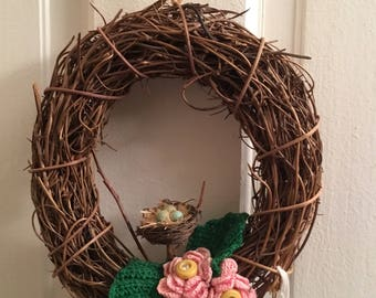 """6.5"""" grapevine wreath-bird nest-blue eggs-crocheted-green leaves-pink flowers-vintage yellow buttons-spring-robin eggs-home decoration"""