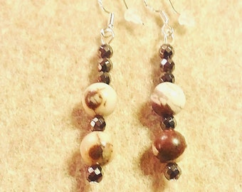 Zebra Stone Dangle Earrings with Sterling Silver Hooks