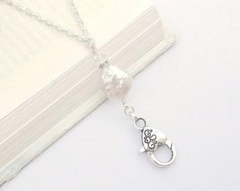 Pearl Lanyard, Freshwater Pearl Lanyard Eyeglass Holder, Pearl ID Badge Holder, Freshwater Pearl Lanyard Necklace Ring, Feminine Pretty