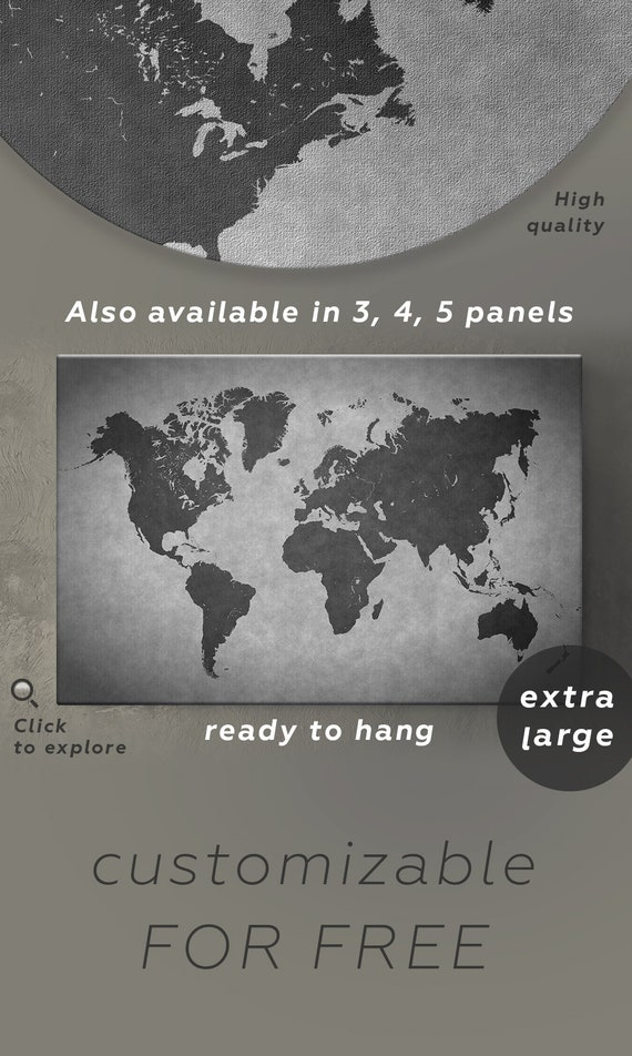 Dark gray world map decor black and gray map print 3 panel like this item gumiabroncs Image collections