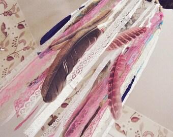Feathers Mobile - Dreamcatcher Mobile - Baby Gift - Bohemian Nursery Decor - Gypsy Crib Mobile - Boho Nursery Decor - Nursery Dream Catcher