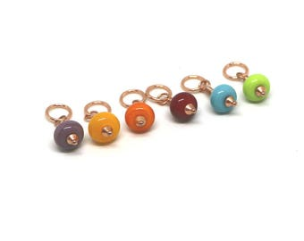 Rainbow Stitch Markers for Knitting, Set of 6 Snag Free Lampwork Glass Stitch Markers,  Gift for Knitter