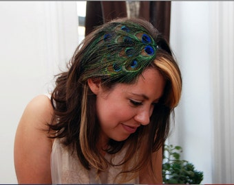 SALE! Peacock Feather Elastic Headband // Classy 1920's Style Headpiece // Comfortable Black Elastic Band //Bright Colors