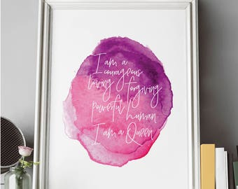 I Am Queen | Inspirational Art Print | Wall Decor | Motto | 11 x 14 Print