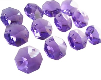 25 Violet 14mm Octagon Chandelier Asfour Lead Crystal Beads Purple