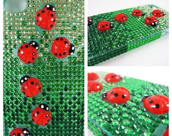 Cell Phone Case Spring Ladybugs Bling Crystal for iPhone 6/7/8 X Plus, Samsung Galaxy s5/s6/s7/Note, Google Pixel/XL; Ombre Green Rhinestone