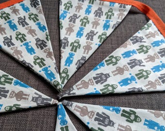 Robot fabric bunting / garland / pennant - one of a kind - Does Not Compute - made by love