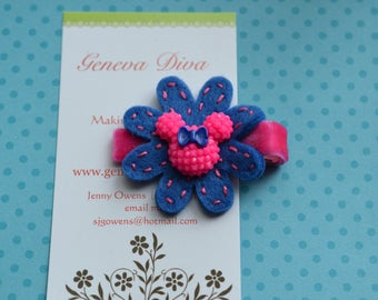 Pink and Blue Glitzy Mouse Hand-stitched Felt Flower Clip