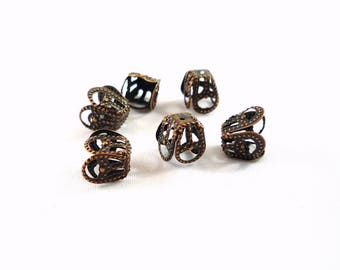 20 bead caps, copper filigree, 8X5mm (ap75)