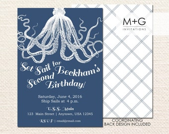 Nautical Set Sail Octopus Invitation: Digital Printable