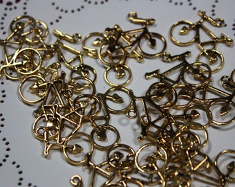 Gold bicycle charms