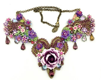 Vintage MICHAL NEGRIN NECKLACE Lace Back Swarovski Crystal Victorian Style Statement Necklace