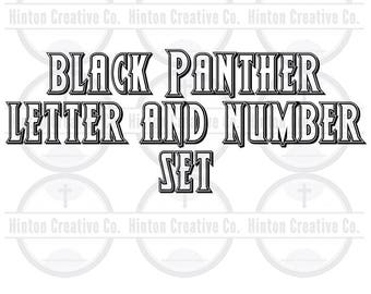 Black Panther Letter and Number Character Set Cut File Print File SVG Circuit Silhouette Brother Image Custom Unique Design