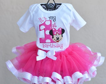 Minnie Mouse Birthday Outfit Tutu Onesie Shirt Personalized
