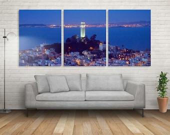 San Francisco Art, Wall Decal, 3 Panel WALL DECAL Split Art, Wall Decal Art, Wall Photos, Home Office Decor, Fine Art Print, Wall Art