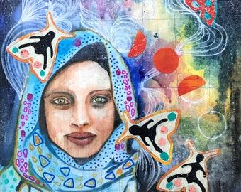 Original Mixed Media Collage Watercolor painting Laila Moth Magic