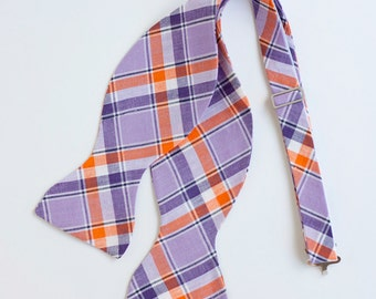 The Beau- men's purple and orange organic madras plaid freestyle self-tie bow tie (comes with tying instructions)