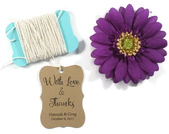 Wedding Gift Tags 20 pc - Personalized Kraft Brown Favor Tags - Custom Favors - With Love and Thanks - Bridal Shower Thank You labels