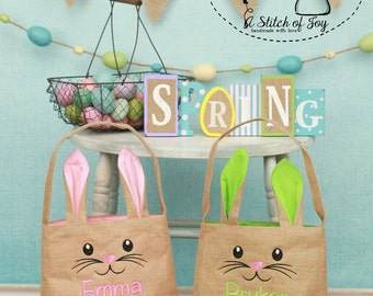 Easter Bunny Tote Bags, Personalized Easter Bunny Bags, Burlap Cotton Lined Easter Bag with Name or Monogram, Personalized Easter Bag