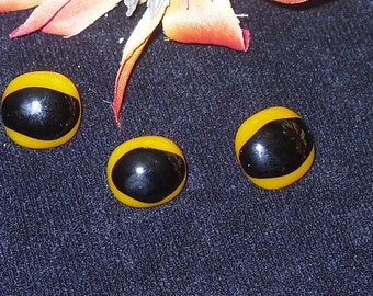 Set of Three Orange and Black Fused Glass Buttons