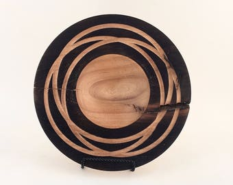 Beautiful Hand Turned Mesquite Platter with Decorative Concentric Rings