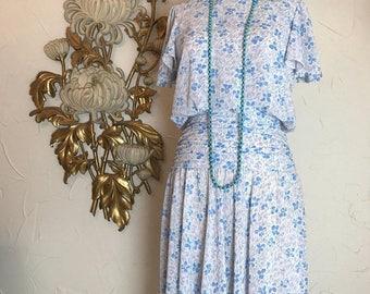 1980s dress jody California rayon dress flapper style dress flutter sleeve dress vintage dress size medium pastel dress ruched dress