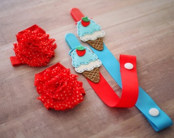 Baby Girl Gift Barefoot Sandals Pacifier Clip Pair Strawberry Ice Cream Theme, Summer Baby Shower Idea, Red Baby Shoes, Blue Paci Holder