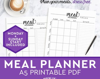 Meal Planner and grocery shopping list, PRINTABLE planner download, a5 planner, weekly meal plan, meal planning