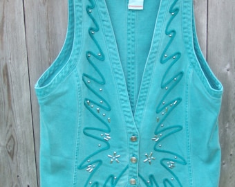 Womens Vest, Green, Embellished, Western, Rodeo