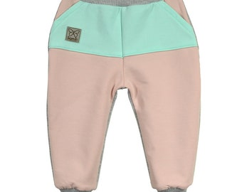 Pants, trousers, cotton, pink, gray, mint, sizes 6 months - 5 years, for a girl, for a boy, baby pants, pants with pockets