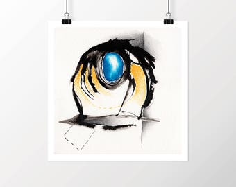 Abstract Figure Drawing, Abstract Art Print, Giclee Art Print, Macabre Art Print, Mixed Media Art Print, Bright Blue, Abstract Ink Drawing
