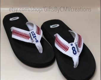 PERSONALIZED BASEBALL flip flops / sandals FREE Personalization - womens baseball sandals - baseball mom Baseball glitter sandals flip-flops