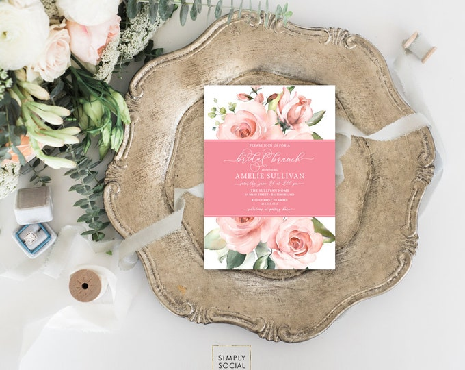 Pink Floral Bridal Brunch Shower Invitation - Blush Pink Flowers - Baby Shower - Pink Roses Greenery Invitation Watercolor Printable